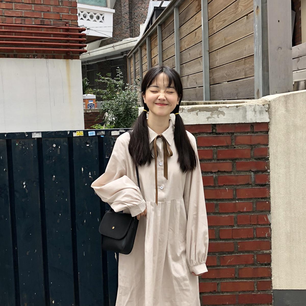 现货 YUKI小树家 过渡季的衬衫连衣裙丝带可拆韩国新款q0772