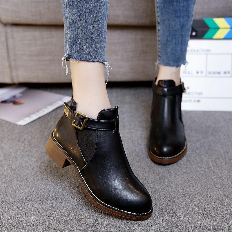 2019秋冬新款韩版女短靴粗跟扣带单靴加绒百搭潮女鞋P66