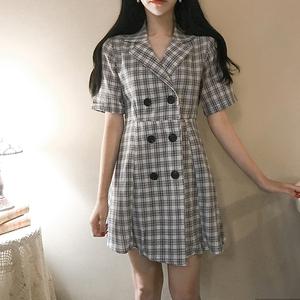 韩国复古百搭格纹翻领双排扣高腰修身显瘦中款西装式连衣裙