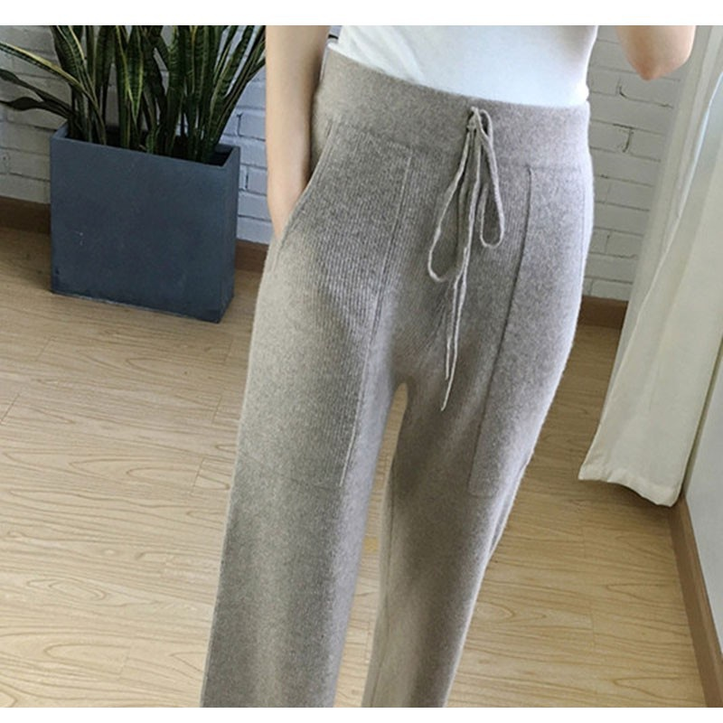 Autumn and winter new cashmere wide leg pants womens casual loose pants high waist knitting wool lace up wide leg pants