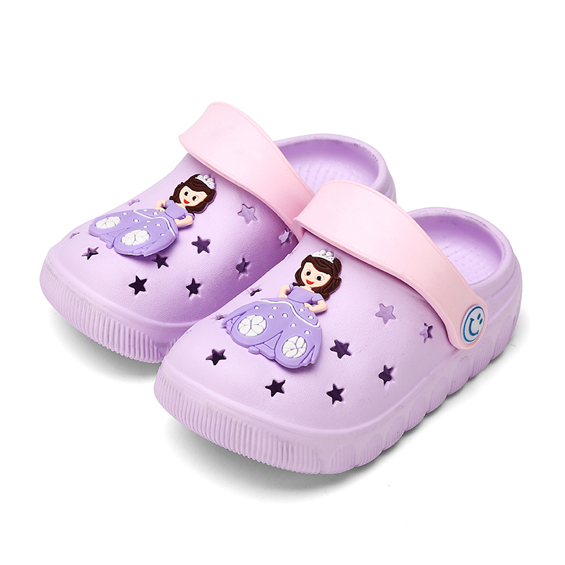 Summer Princess Girl sandals Cute Baby Slippers outdoor antiskid childrens shoes soft soled hole shoes flat bottomed Baotou shoes
