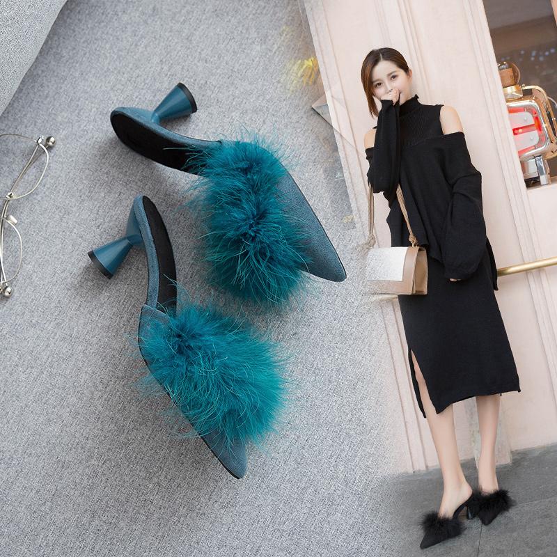 毛毛拖鞋女包头秋冬季2018新款韩版百搭粗跟毛毛尖头外穿半拖鞋子
