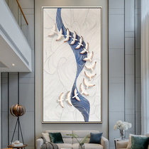 Original hand-painted oil painting new Chinese Xuan Guan decorative painting living room abstract painting light luxury model room hanging painting Zen mural
