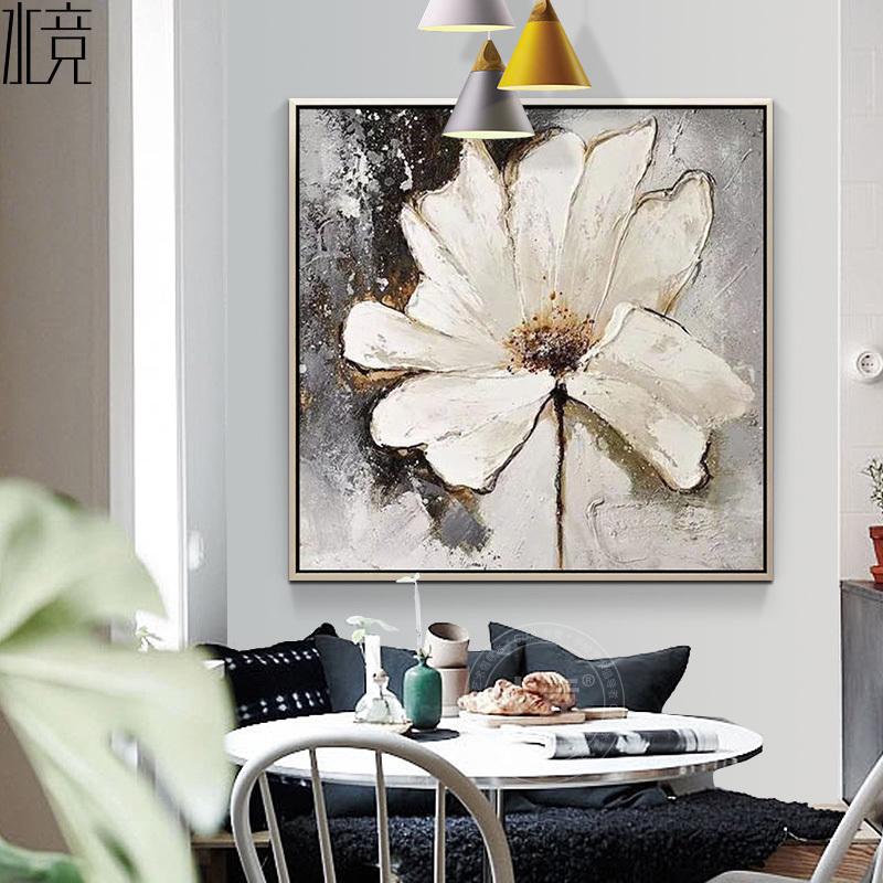 抽象花现代简约样板房客厅玄关沙发背景画餐厅北欧装饰画手绘油画