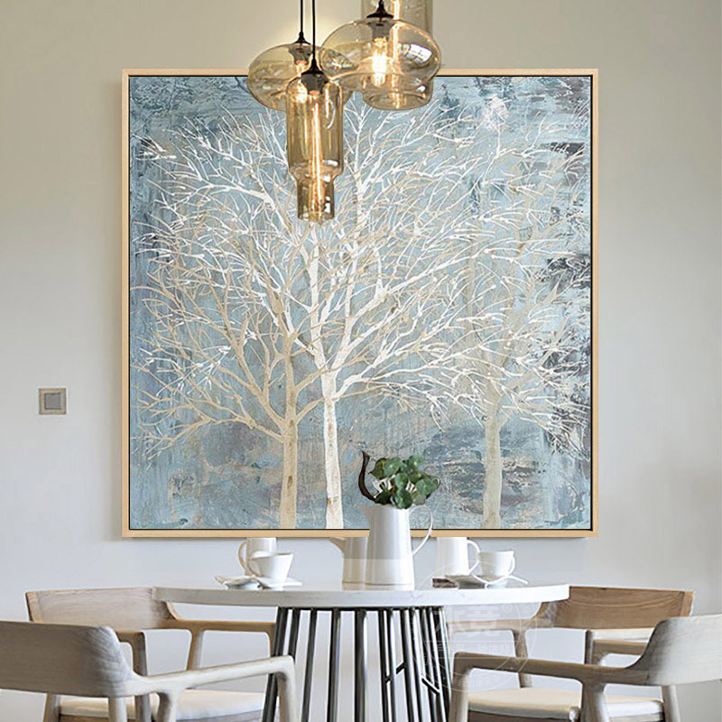 发财生命之树餐厅画现代客厅沙发背景墙玄关壁画北欧风装饰画油画