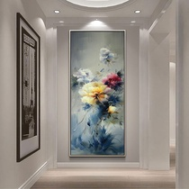 Peony oil painting Xuan Guan Decorative painting vertical edition handmade mural European living room aisle hand-painted modern new Chinese hanging painting