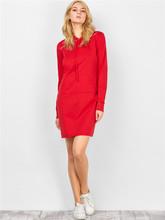 实拍 5355#亚马逊速卖通热卖 纯棉红色口袋中长款抽绳连帽连衣裙