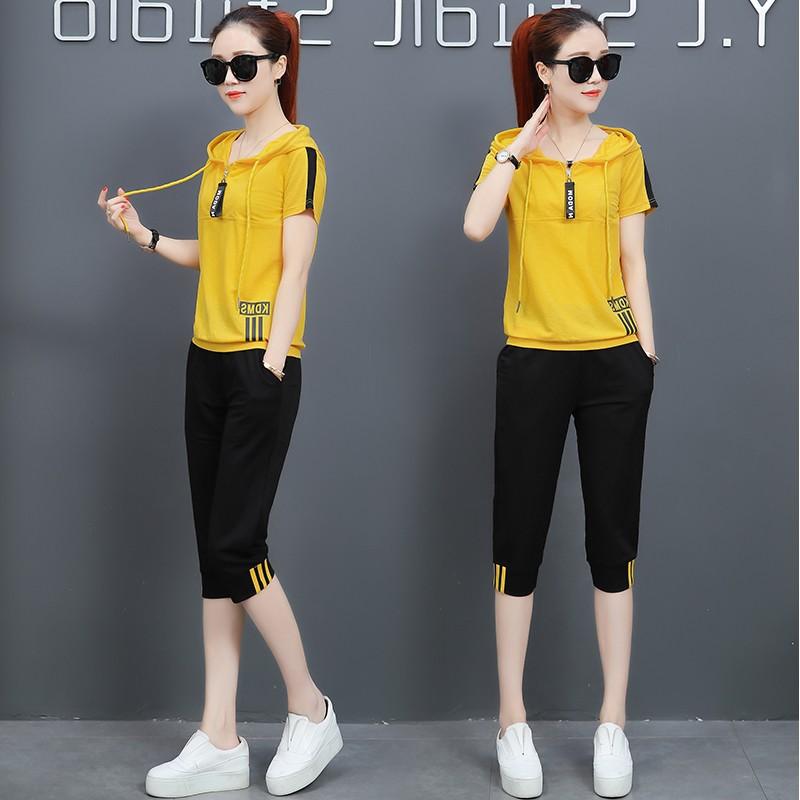 运动服休闲套装女夏装2018新款潮韩版时尚宽松夏季女装短袖两件套