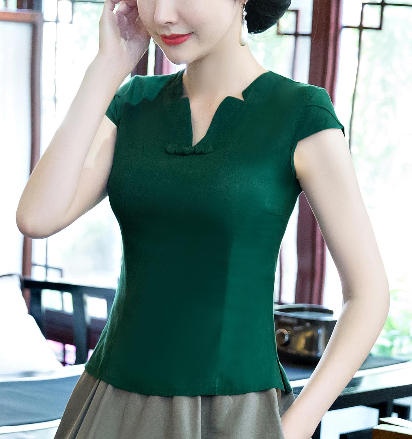 棉麻唐装女装中式茶人服复古套装两件套旗袍上衣修身改良汉服夏季