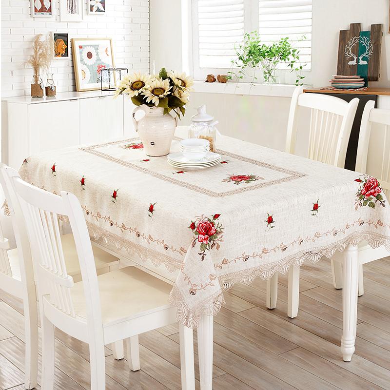 北欧桌布布艺十字绣家用1.3米长方形餐桌布棉麻茶几布盖巾ins餐垫,可领取5元天猫优惠券
