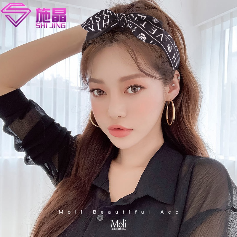 Hair band womens wide edge bow knot Korea simple and versatile go out anti slip headband net red hairpin temperament lady hair band