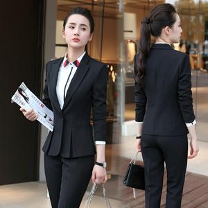 2019春秋新款长袖小西装女装套装办公室韩版西服气质外套职业工装