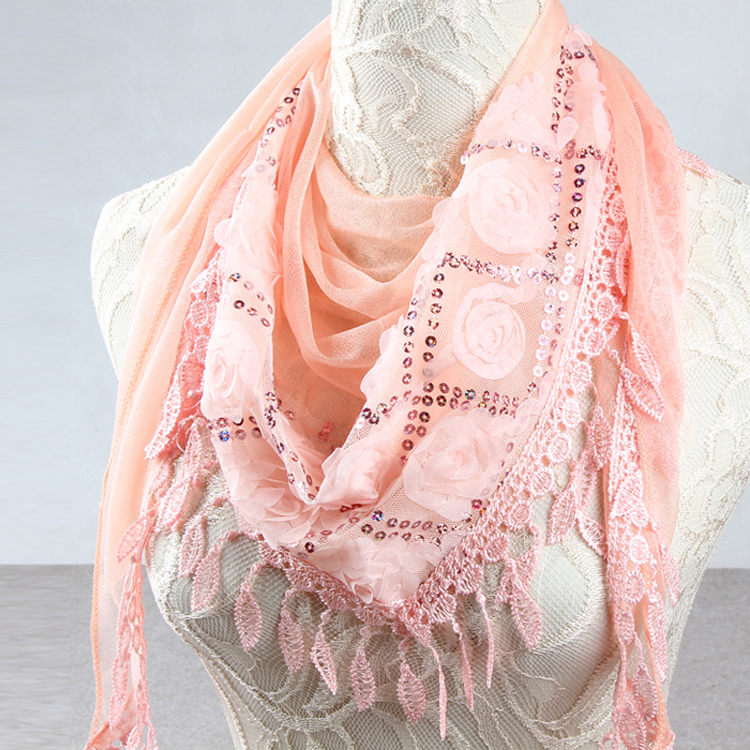 Spring and autumn scarf womens triangle scarf adult scarf thin Embroidery Rose dual-purpose decorative tassel Scarf Shawl