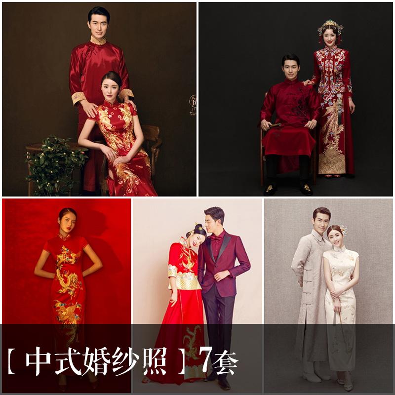 【7套】古装中国风中式旗袍秀禾婚纱照内景婚纱放大样片+小样册57