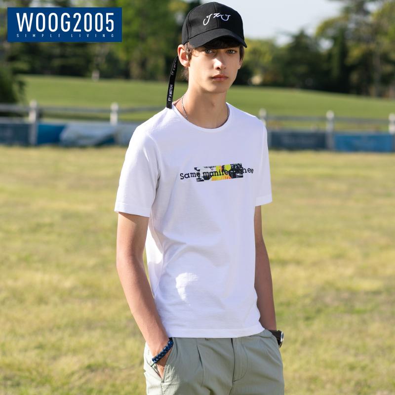 WOOG2005潮流印花短袖t恤男 2018夏季新款修身体恤衫男士夏天衣服