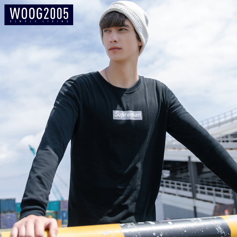 WOOG2005男士黑色圆领t恤 2018秋季潮流印花打底上衣纯棉长袖体恤