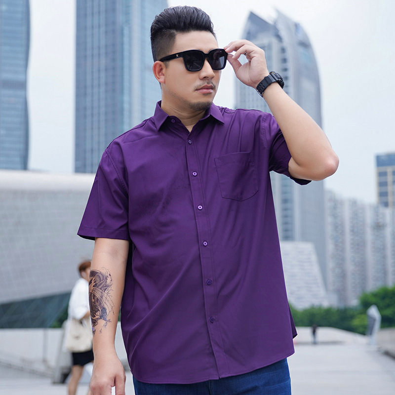 Add fat and increase solid color mens shirt short sleeve casual loose business large size shirt fat man Lapel top
