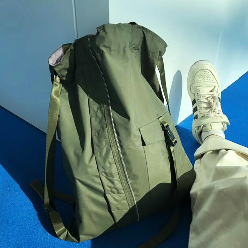 抽繩包束口袋飛行員綠色個性潮單雙肩背包男女通用健身休閑旅行包