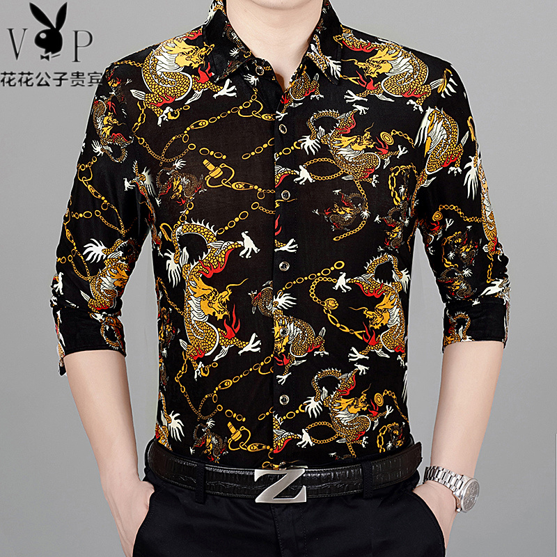 Autumn and winter middle-aged mens long sleeved flower shirt Chinese style dragon pattern silk shirt fattened and enlarged printed shirt