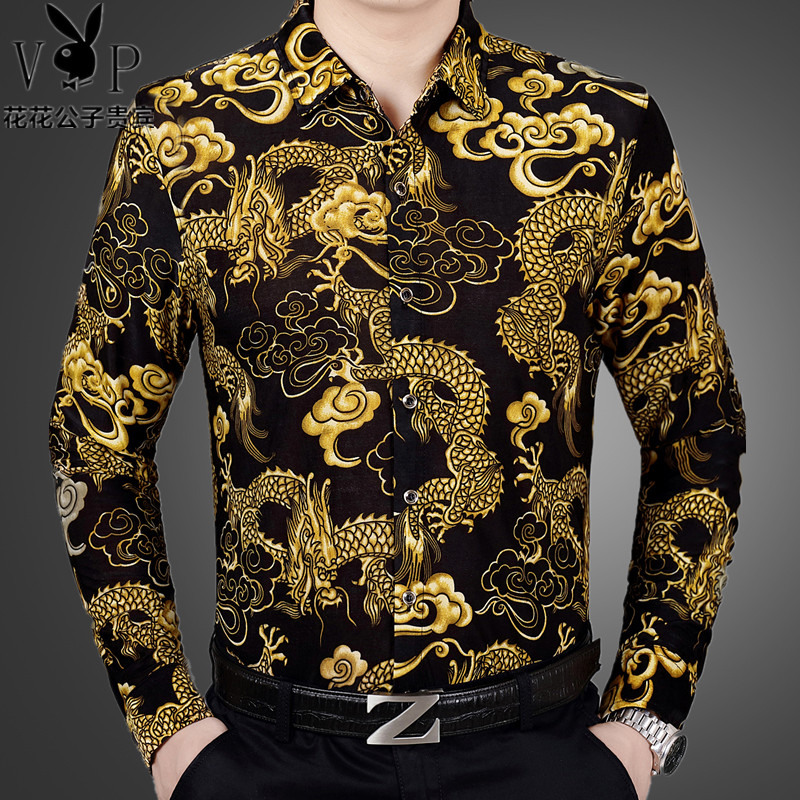 Autumn and winter middle-aged mens long sleeved flower shirt mercerized cotton breathable dragon pattern printed shirt Large dad shirt