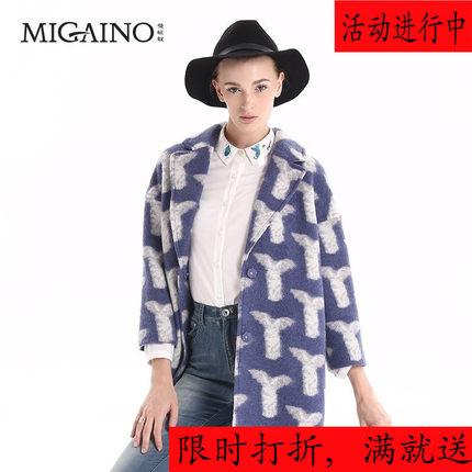 曼娅奴正品2015冬新女装欧美经典羊毛呢大衣高端时尚外套MF4GB026