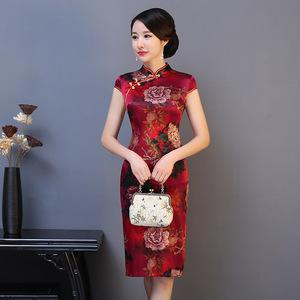 牡丹花红色真丝旗袍中长款桑蚕丝旗袍 喜宴婚礼妈妈旗袍大码夏装