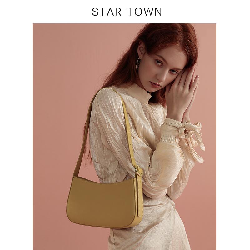 STARTOWN2019新款复古腋下包牛皮单肩女包时尚百搭法棍包手提小包图片