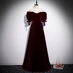 敬酒服新娘2020新款夏红色现代丝绒法式一字肩长款结婚晚礼服裙女