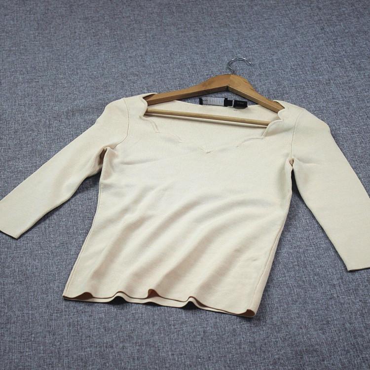真丝氨纶混纺女装春秋简约七分袖上衣针织T恤浅米粉 偏绿色s173