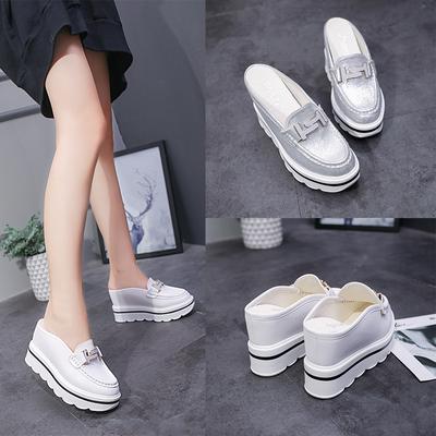 春夏季新款内增高拖鞋女外穿韩版松糕厚底高跟白色包头半拖鞋10CM