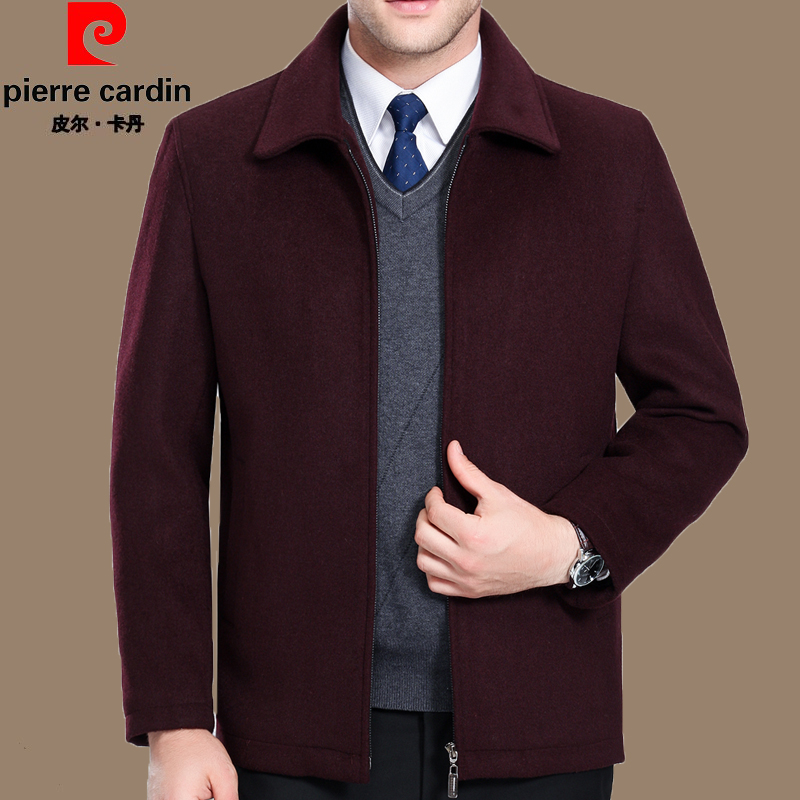 Pilcardin wool jacket for middle aged and old mens cashmere overcoat