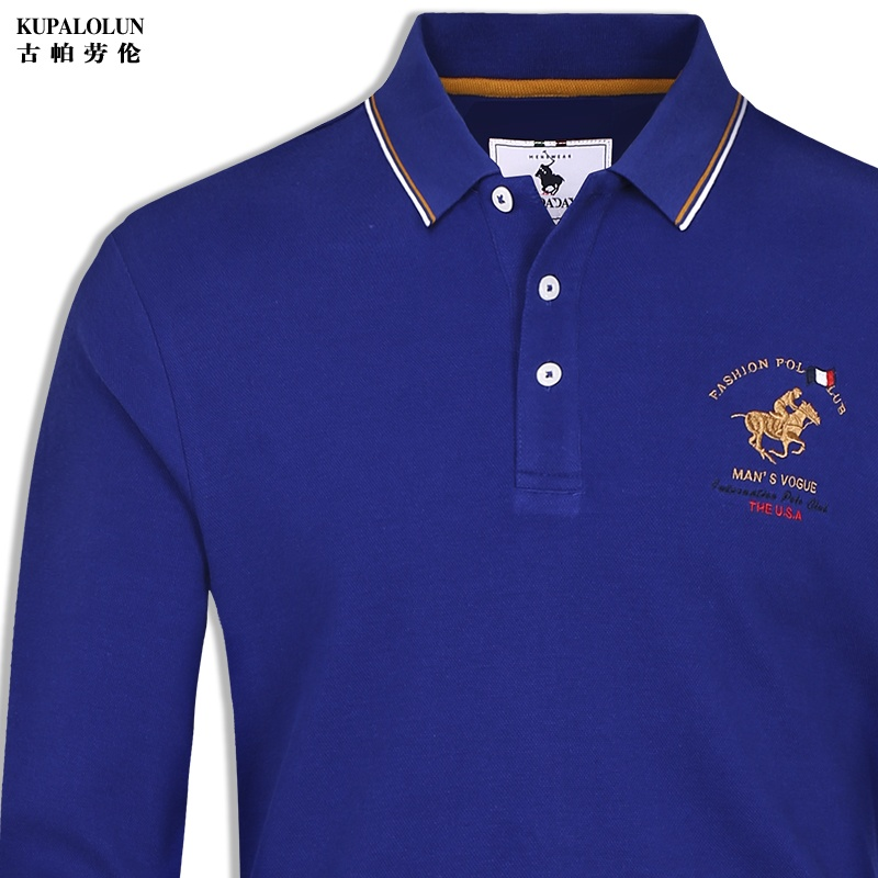 High end mens solid color long sleeve t-shirt mens collar top Polo embroidery casual polo shirt autumn polo shirt