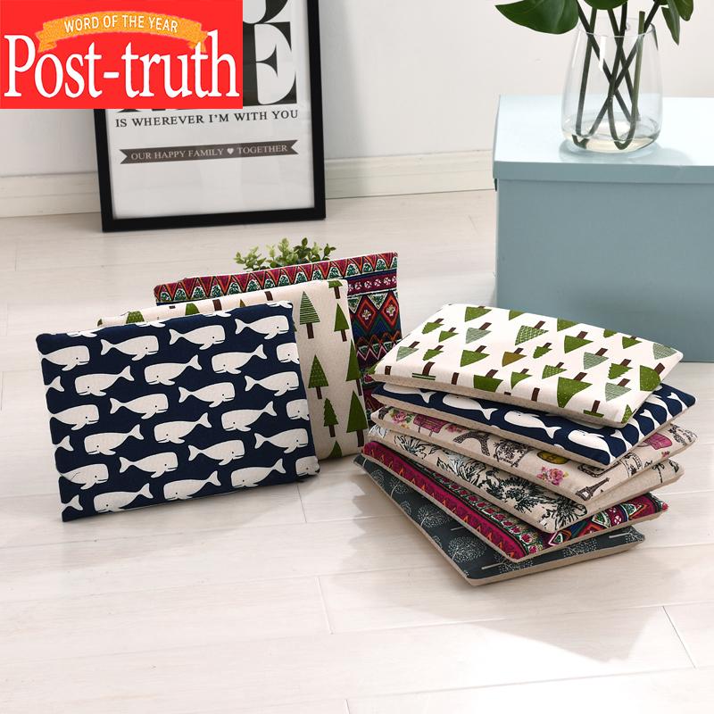 棉麻办公室椅垫学生教室板凳防滑透气长方形记忆棉坐垫汽车海绵垫