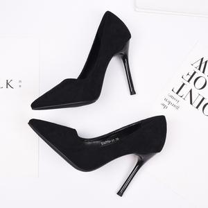 2021年新款百搭尖头工作单鞋黑色高跟鞋女细跟绒面气质职业女鞋子