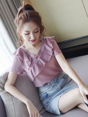短袖女2020新款時尚潮流女裝 氣質小衫紫色寬松顯瘦夏季雪紡衫