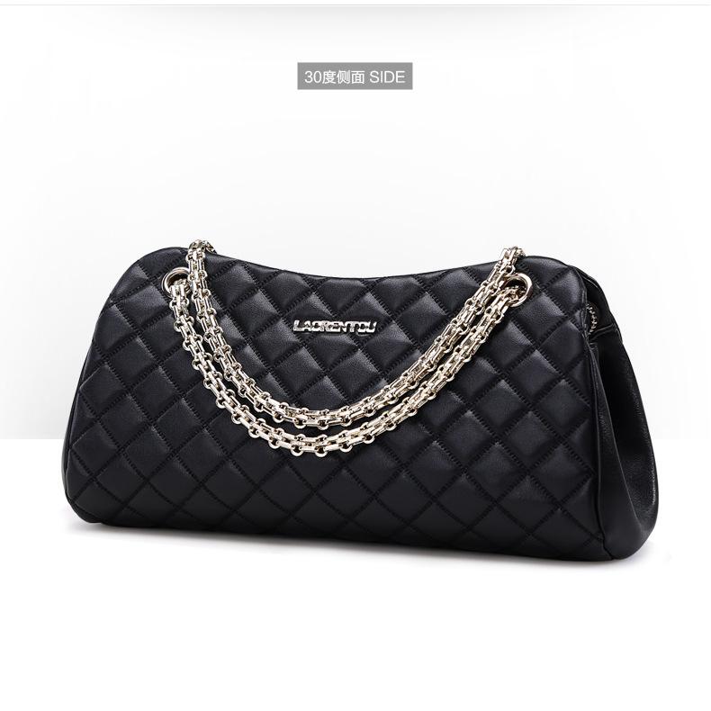 Laorenxin bag womens chain handle Lingge chain bag classic versatile xiaoxiangfeng cow leather shoulder bag