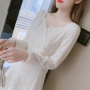 冬季蕾丝连衣裙子女装秋冬装2020年新款仙女超仙森系气质打底冬裙