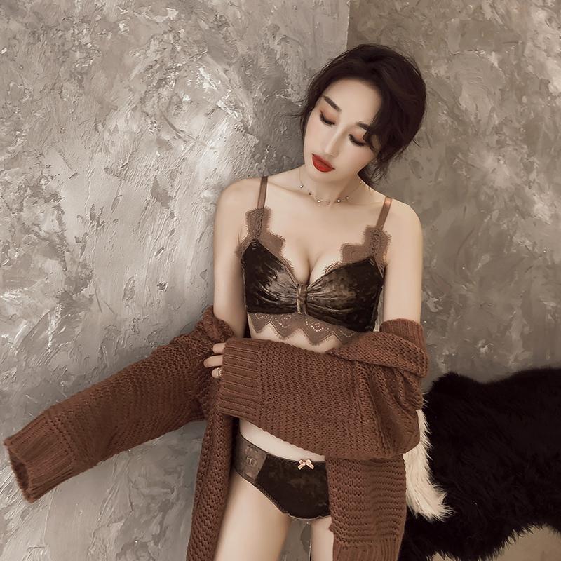 荷韵阁无钢圈文胸套装舒适丝绒蕾丝胸罩性感bralette小胸聚拢内衣