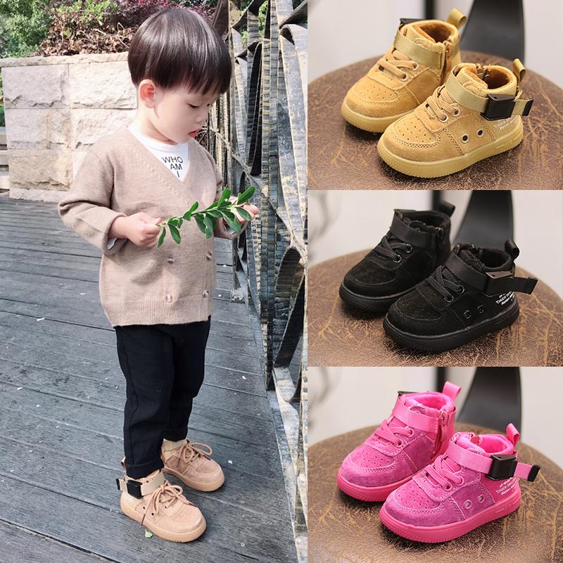 冬季男女宝宝鞋子二棉马丁鞋0-1-3岁软底加绒棉鞋小童板鞋婴儿鞋2