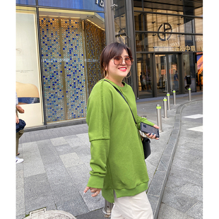 木子理想2020新款秋季大码卫衣女胖mm宽松显瘦中长款圆领长袖上衣