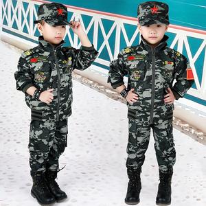 新款秋冬装儿童迷彩服套装小孩学生休闲军装女童男童运动装军训服