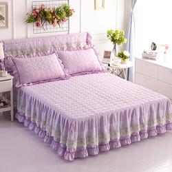 韩式水洗夹棉加厚蕾丝花边床裙单件床罩加棉床套床围1.51.8床品