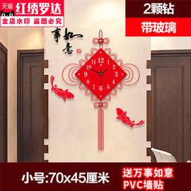 。中国结钟表挂钟客厅创意中式结婚装饰时钟欧式现代静音卧室夜光