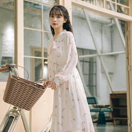 春秋装2020年新款女收腰显瘦气质仙女超仙森系长袖碎花连衣裙长裙