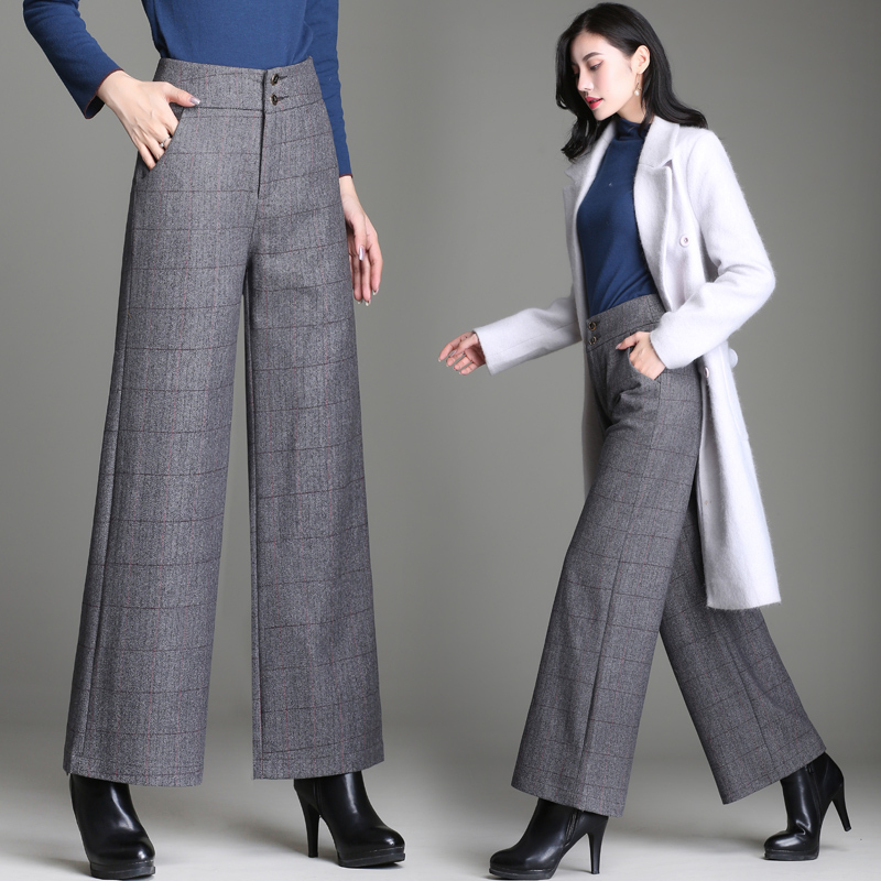 Woollen cloth wide leg pants womens autumn and winter high waist slim straight tube suit pants casual no iron droop Plaid cashmere pants
