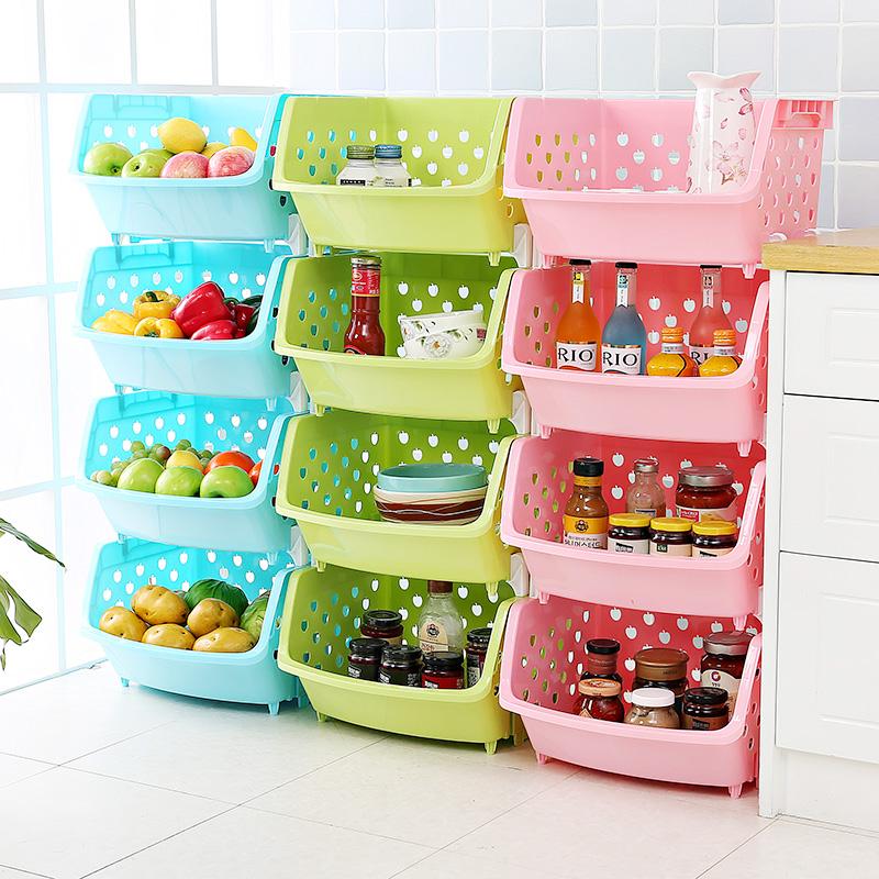 天天特价厨房置物架落地蔬菜收纳架水果筐塑料整理储物菜架子4层