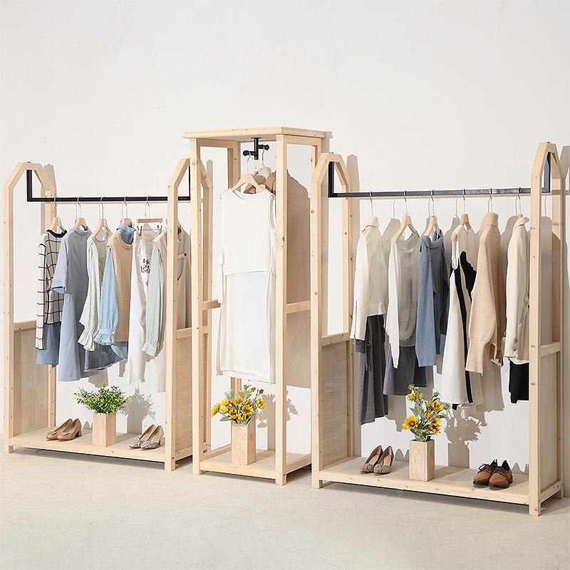 服装店创意北欧实木落地式服装架428.00元包邮
