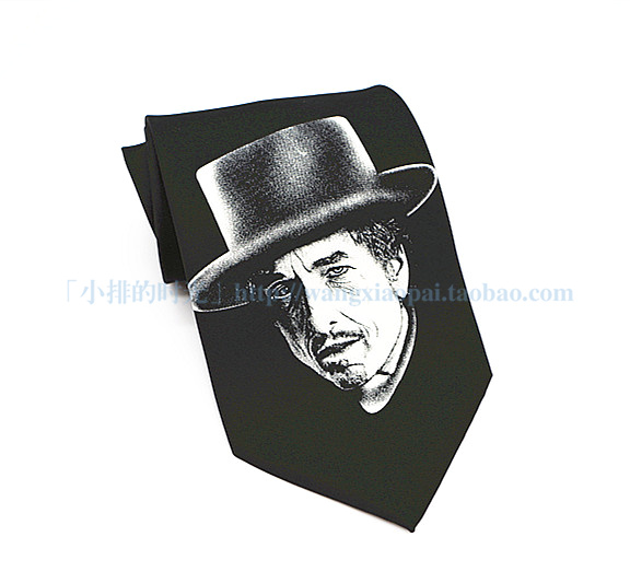 The time of small row, retro figure, silk printing, literature and art style, pure black tie, mens leisure