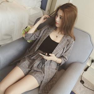 韩版chic风短裤套装女夏装2020新款时尚气质格子西装三件套女装潮