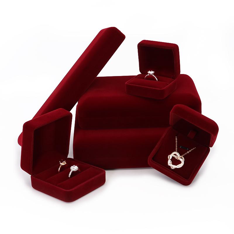 绒布首饰盒饰品收纳盒求婚戒指盒高等姓戒盒项链手镯手链吊坠盒子